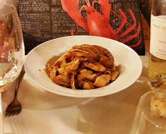 Le Pique Bouffique : 1ère assiette de pâtes aux gambas prête à être dégustée