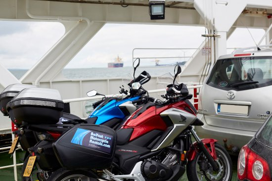 Crossing by ferry, on tour with Belfast Motorcycle Rentals