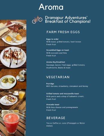 Breakfast menu at Aroma, Benaulim