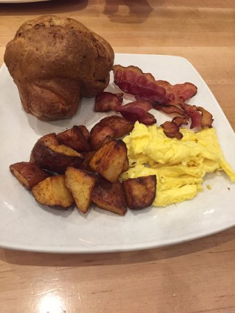 Popovers at Brickyard Square: Popover, Home Fries, Bacon & scrambled Eggs
