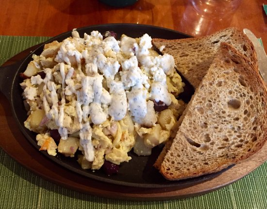 Bear Creek, PA: The Greek Skillet - Eggs, Potatoes, Chicken, Onions, Banana Peppers, Kalamata Olives, Tzatziki S