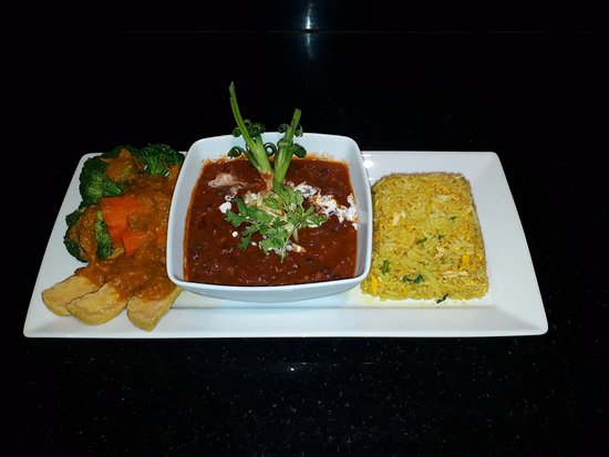 The Dining Room at Pacific Club: Indian Vegan Set featuring our Super Power Rice with Ginger and Garlic