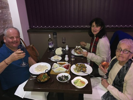 St. Neots, UK: Having our main course.