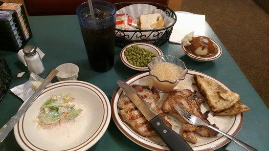 Oshkosh, WI: Why the bread under the pork chops?