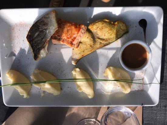 Viviers-du-Lac, Francia: Assiettes trio de la mer  Filet d'omble chevalier  Filet de truite  Pavé d'espadon  Sauce minute