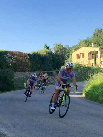 Pienza, Italy: On the road -- Guide Guiseppe on the front