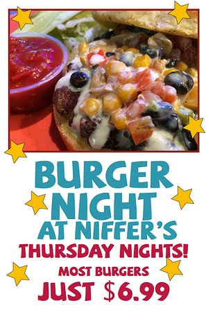 Niffer's Place: The auburn location has their burger night on thursdays