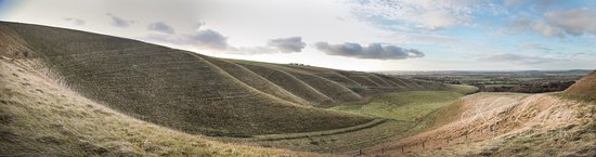 Uffington, UK: Panoramic from base of Dragon Hill