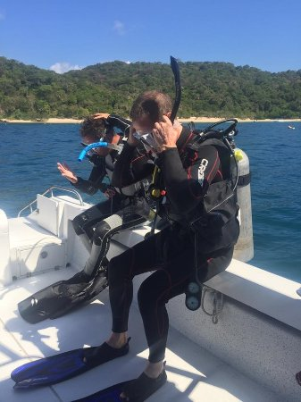Huatulco Dive Center: about to drop in for the 2nd of 2 dives
