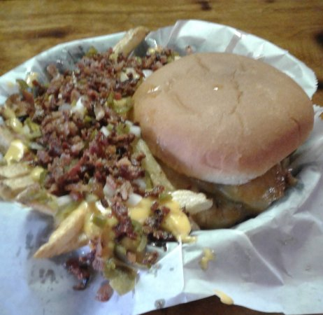 Picayune, MS: Grilled chicken with a side of bacon cheese fries with onions and peppers