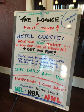 Specials in the lounge sign, Best Western Point South  I-95 & US 17 Exit 33, Ridgeland, SC