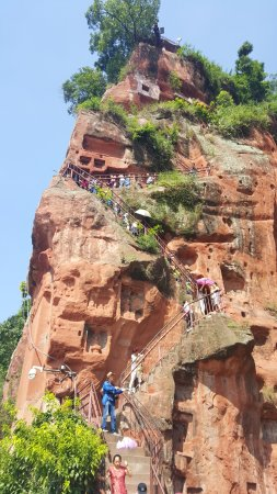 Leshan, China: The stairs for the walk down to the feet.