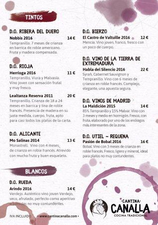 Cantina Canalla - G.Paredes: Carta de vinos Canalla