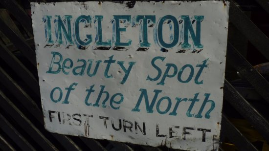 Settle, UK: Old sign on the railway station platform