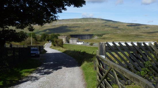 Settle, UK: View of Ribbleshead Viaduct from the station approach