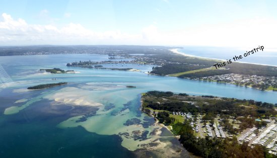 Belmont, Australia: A view of Lake Macquarie and the airstrip