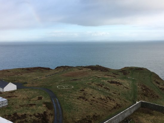 Mull of Galloway Lighthouse: View of the helipad and RSPB building from the top of the lighthouse