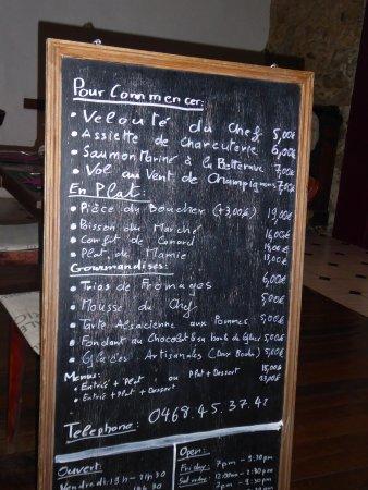 Argeliers, France: Menu on our visit
