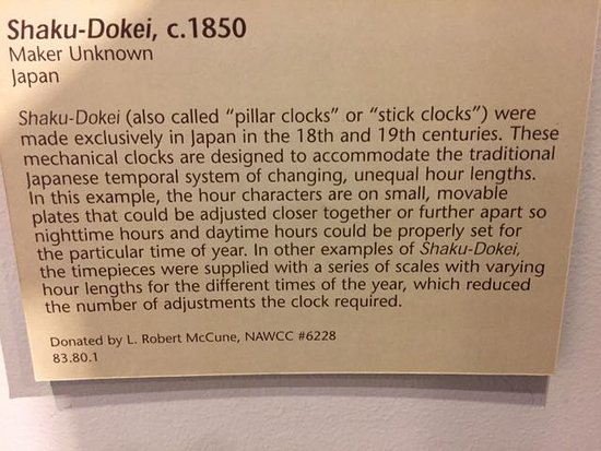 Columbia, PA: Explanation of how the shaku-dokei clocks in Japan worked