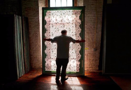 Lewiston, ME: One of Museum L-A's design screens to create a Bates Mill bedspread that was rescued,