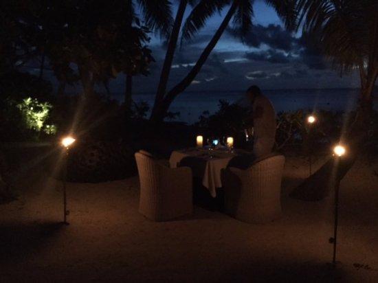 Tetiaroa, French Polynesia: Special torch light dinner on our villa's beach