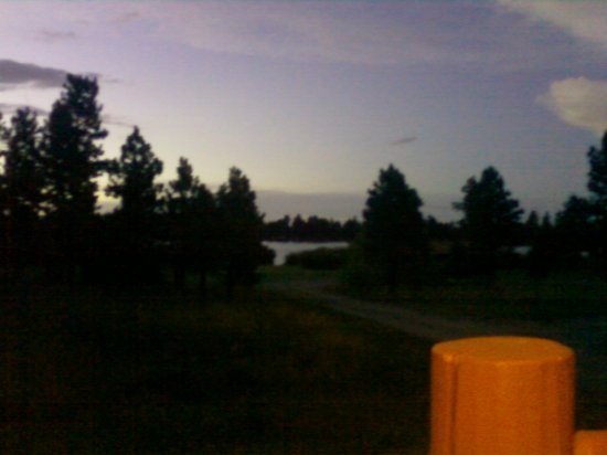 Dutch John, UT: Evening from our cabin porch chairs looking at the lake.