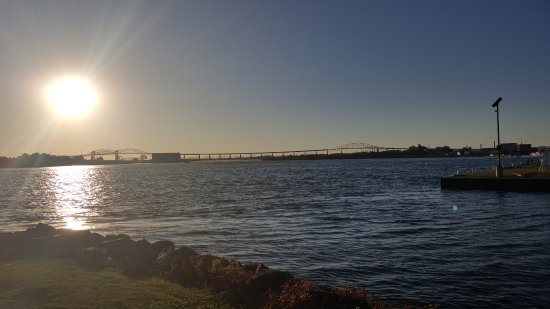 Sault Ste. Marie, Canada: St. Marys River and International Bridge from deck