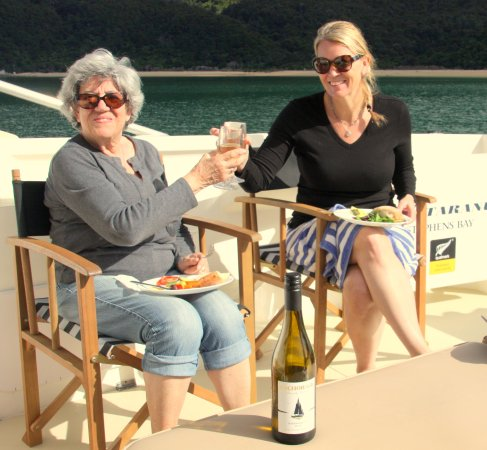 Abel Tasman National Park, New Zealand: Enjoy locally produced food and wine aboard our daytrips