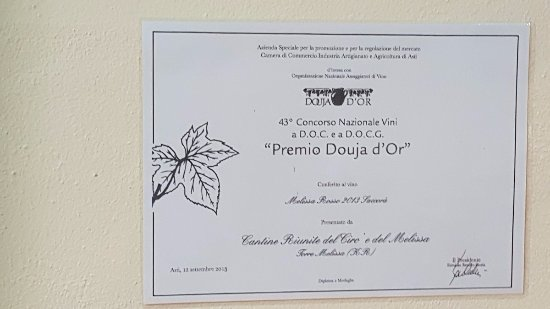 Almoradi, إسبانيا: Award Certificate for our wine from The Sunny Calabrian region, Soutrhern Italy.