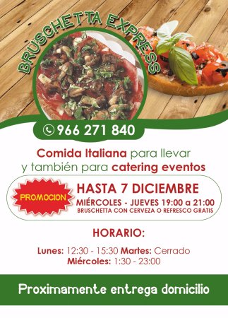 Almoradi, إسبانيا: Promotion of Our Bruschetta - Healthier & Lighter. (Alternative to the Pizza).