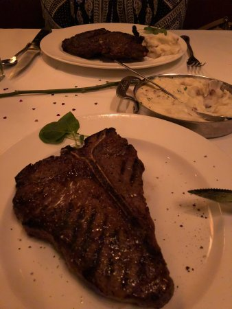 The Capital Grille: Porterhouse steak near, (24oz), Rib eye far (180z), Smashed Potatos !