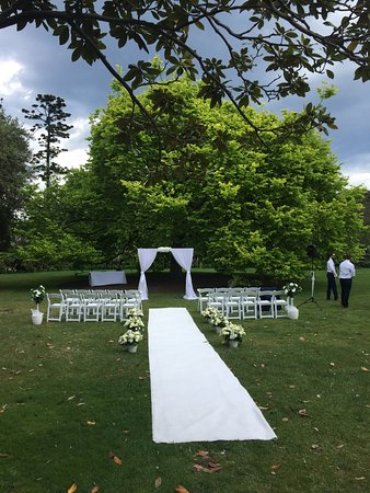 Williamstown, Αυστραλία: The rain stayed away for this happy couple to hold their wedding ceremony under the Grand Elm.