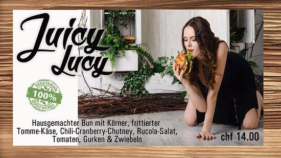 """Leukerbad, Schweiz: Das ganze Jahr über ein Renner. Unsere vegetarische """"Juicy Lucy"""""""