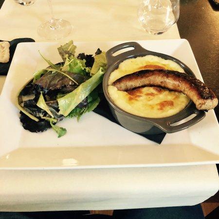 Lattes, Francia: Plat : Aligot saucisse