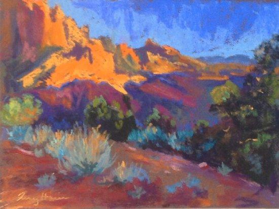 Kolob Canyon Road: Kolob Canyon, Sunset. Pastel painting by Tracy Haines