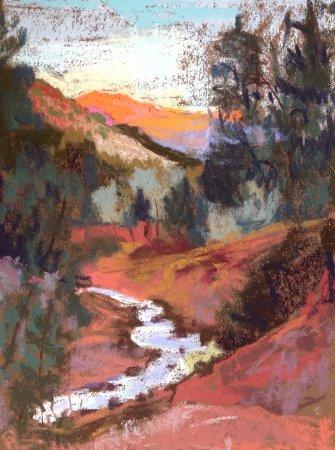 Kolob Canyon Road: Taylor Creek Morning, Pastel Painting