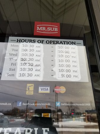 Angus, كندا: Hours for Angus location 2017