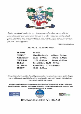 Probus, UK: New Menu Sample with new serving times