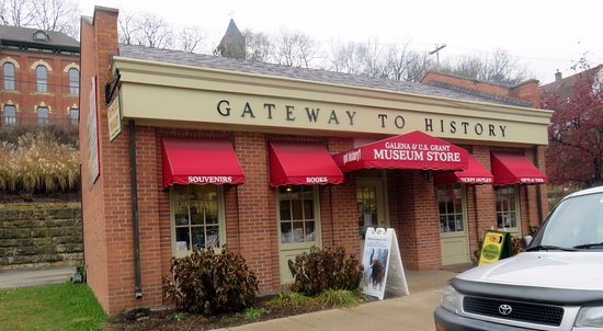 Galena, IL: front of & entrance to Gateway to History Museum Store