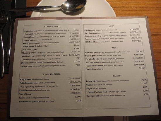 Albarama Restaurante Tapas: The menu