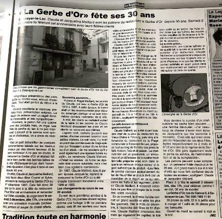 Estavayer-le-Lac, Switzerland: 30 ans à la Gerbe d'Or