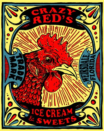 Weirsdale, FL: Crazy Red's Ice Cream and Sweets Logo Located inside Kentucky Bill's