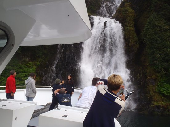 Petersburg, AK: Enjoying a close-up of one of many rainforest waterfalls from the deck of Northern Song.