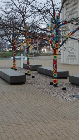 Figge Art Museum: Painted Trees on Figge Museum Plaza