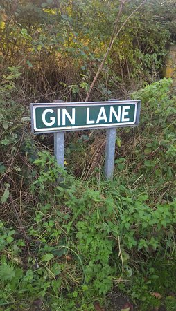 Ashover, UK: Road sign just outside of the Inn