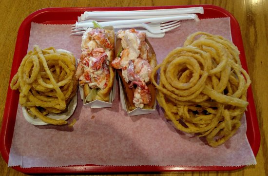 Bourne, MA: Lobster rolls with onion rings - delicious!