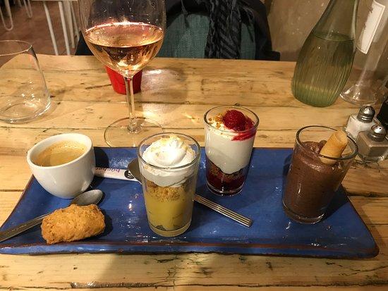 Au Coeur du Panier: Dessert sampler with espresso