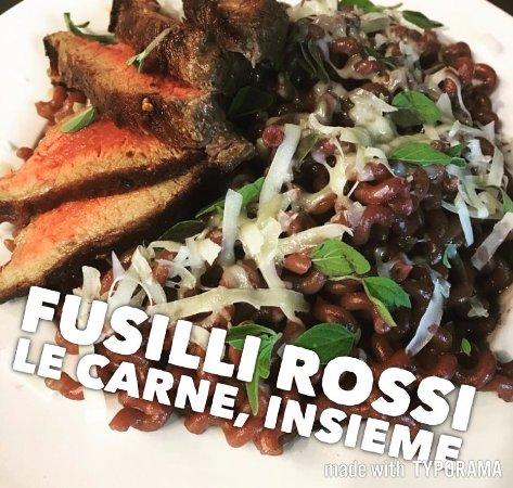 Superior, WI: red wine fusilli with steak