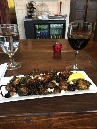 Enumclaw, WA: Fried Brussel sprouts w/Gorgonzola and Walnuts
