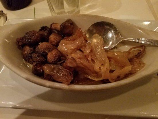 Hicksville, NY: My mushrooms and onions that I had put on the side instead smoothering my steak!